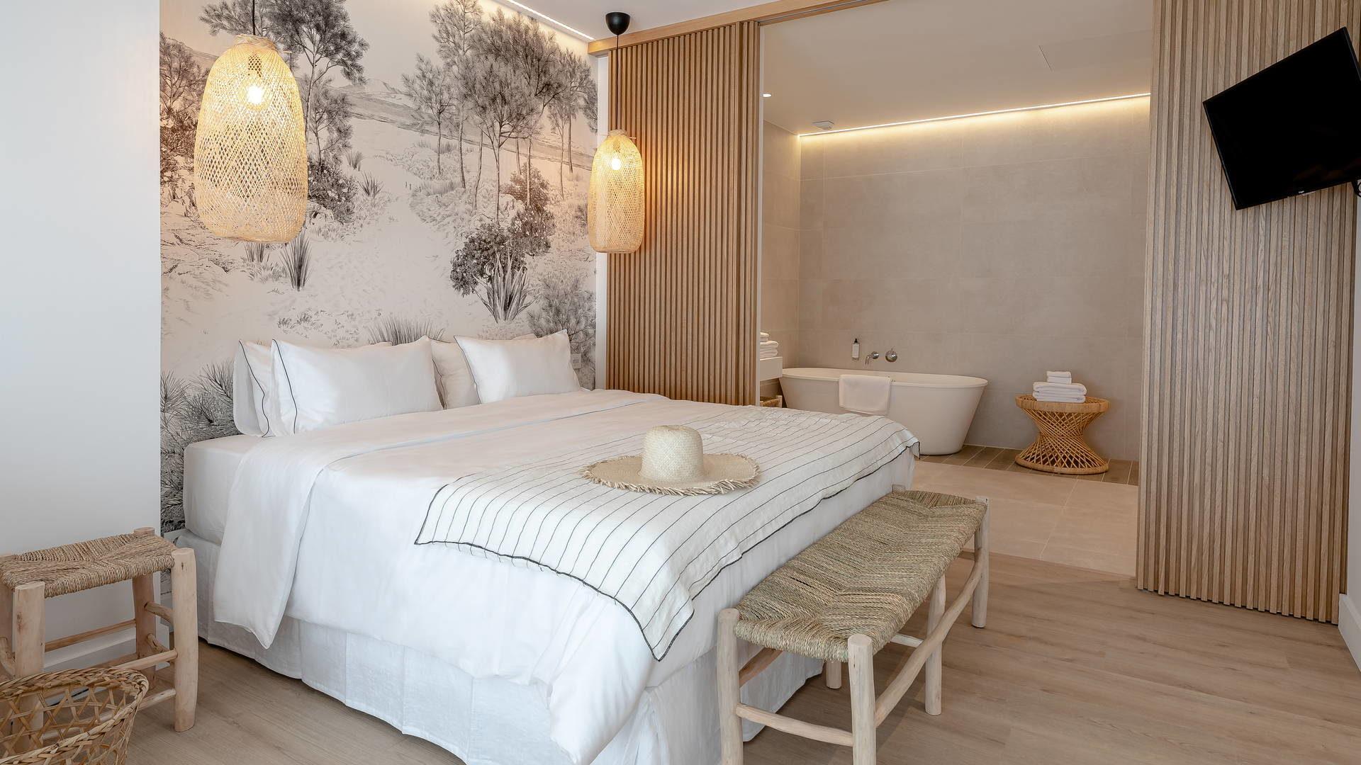 Chambre avec salle de bain appartement méditerranée